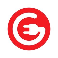 Electric logo. Power icon. Plug in symbol. Vector eps 08.