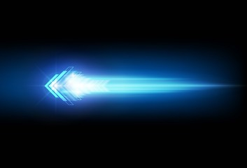 Abstract speed movement blue arrows technology communicate background, vector illustration
