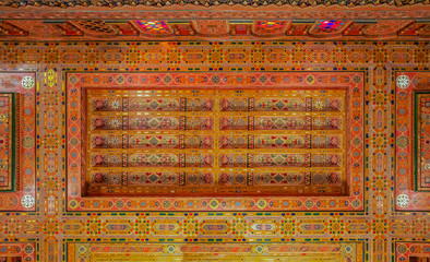 Traditional Moroccan cedar wood carved ceiling in Fes