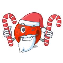 Santa with candy mars planet mascot cartoon