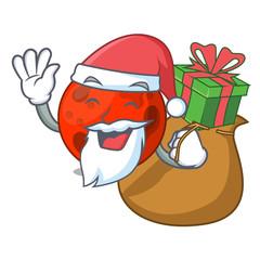 Santa with gift mars planet mascot cartoon