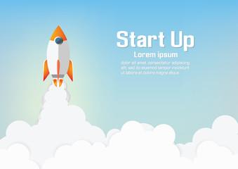 Paper art of Startup project concept. Business flat design vector illustration