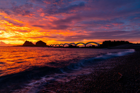 Sunrise in Tropical Island with view at Sanxiantai Bridge