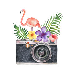 Watercolor vector card with camera, palm tree, flowers, tropical leaves and pink Flamingo isolated on white background.