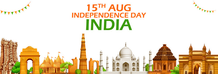 Famous Indian monument and Landmark for Happy Independence Day of India