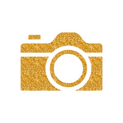 Camera icon in gold glitter texture. Sparkle luxury style vector illustration.