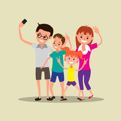 Happy Family Making Selfie vector illustration