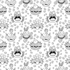 Cute doodle monsters and aliens in a repeat seamless vector pattern black and white