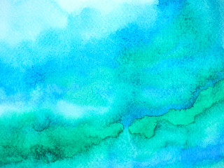 abstract blue white color sky water sea ocean wave mountain range watercolor painting illustration design hand drawn Wall mural