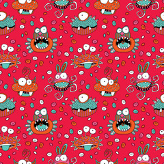 Cute doodle monsters and aliens in a repeat seamless vector pattern on a red background