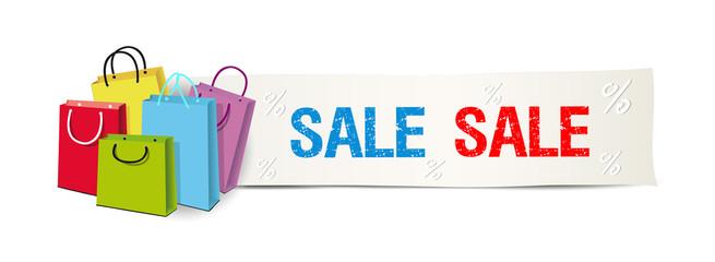 SALE Banner mit Einkaufstüten, Sale Reklame Hintergrund,  Vektor Illustration isoliert auf weißem Hintergrund