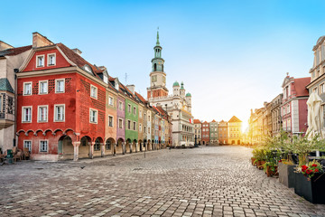 Stary Rynek square with small colorful houses and old Town Hall in Poznan, Poland Wall mural