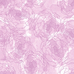 Abstract painting universal freehand watercolor seamless pattern with peonies. Graphic design for background, card, banner, poster, cover, invitation, header or brochure. Hand drawn vector texture