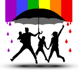 Family is protected by an umbrella, silhouette. Propaganda, LGBT flag. Traditional family with children