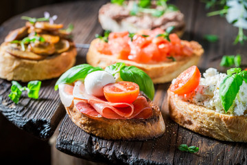 Closeup of crisp mix of bruschetta with fresh ingredients