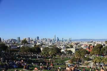 View of San Francisco's Skyline from Mission Dolores Park