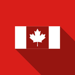 Canada flag icon isolated with long shadow. Flat design. Vector Illustration