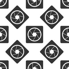 Camera shutter icon seamless pattern on white background. Flat design. Vector Illustration