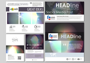 Social media posts set. Business templates. Easy editable abstract template, vector layouts in popular formats. Retro style, mystical Sci-Fi background. Futuristic trendy design.