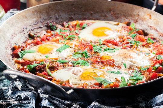 Shakshuka in a frying pan