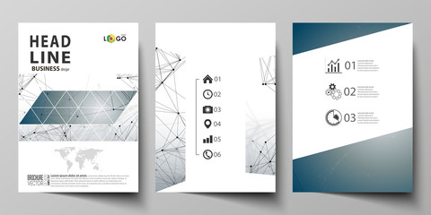 Business templates for brochure, magazine, flyer, booklet. Cover design template, vector layout in A4 size. DNA and neurons molecule structure. Medicine, science, technology concept. Scalable graphic.
