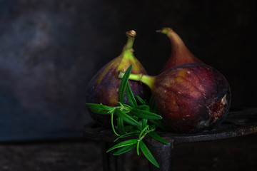 Fresh figs on dark background