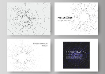 The minimalistic abstract vector layout of the presentation slides design business templates. Network connection concept with connecting lines and dots. Technology design, digital geometric background