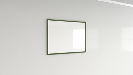Blank white poster in colorful frame on the wall
