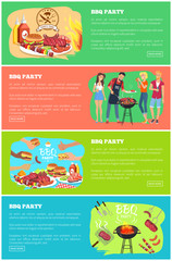 BBQ Party Web Page Collection Vector Illustration