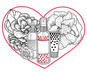 vector jars of sprays and cream cosmetics black and white on a background of graceful camellia flowers, behind a stylish red heart