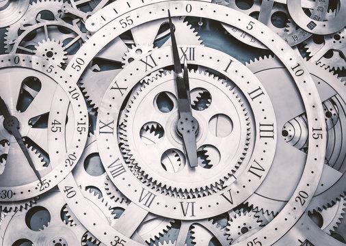 A metal gear in a clock.