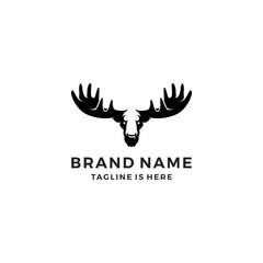 moose head logo template vector icon illustration