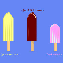 Banner, Ice cream set (chocolate, lemon, fruit), on blue background,