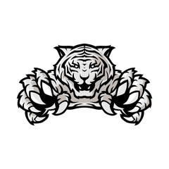 white tiger sport gaming logo vector template with white background