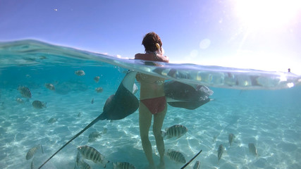 snorkeling in a lagoon with woman and fish ray, French Polynesia Wall mural