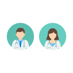 Doctor and Nurse Medicine flat avatars set. Round icons medical collection, vector illustration