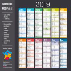 Calendrier 2019 modifiable (éléments isolés sur calques, textes en ARIAL éditables et vectorisés)