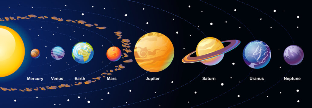 Solar system cartoon illustration with colorful planets and asteroid belt on navy blue gradient background. Vector illustration.