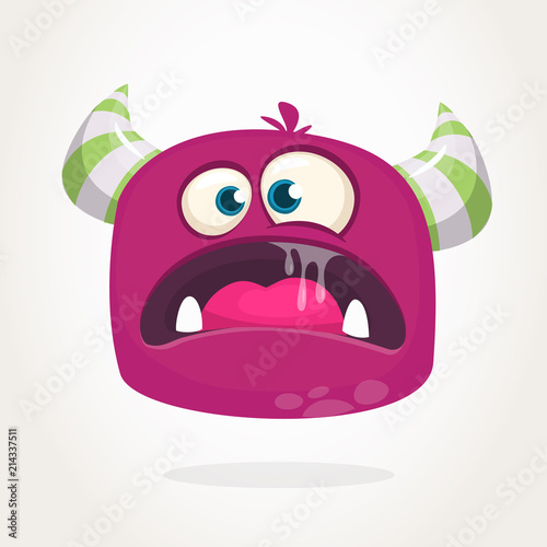 Angry cartoon monster with horns  Big collection of cute