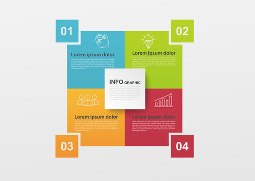 Business infographics with 4 colorful steps or processes, block diagram. Infographic elements for info graph, diagrams, workflow layout, annual report.