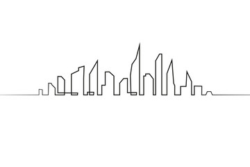 Silhouette of the city in a flat style. Modern urban landscape. Vector illustrations. City skyscrapers building office horizon.Continuous line drawing