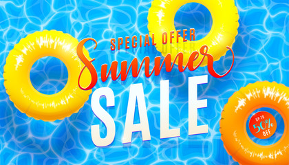Summer sale banner background with blue water texture and yellow pool float. Vector illustration of sea beach offer poster