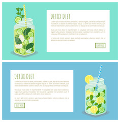 Detox Diet Pages Collection Vector Illustration