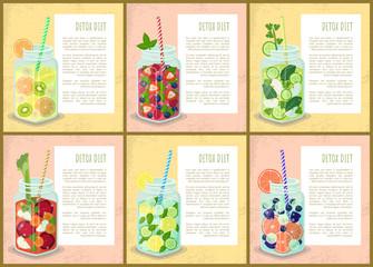 Detox Diet Set of Posters Juicy Drinks of Fruits