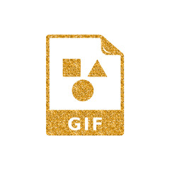 Picture file format icon in gold glitter texture. Sparkle luxury style vector illustration.