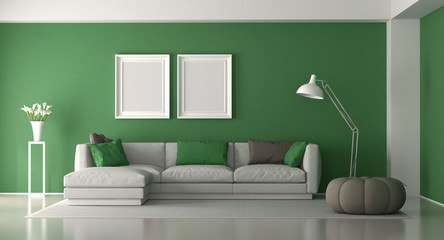White and green modern living room