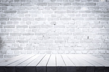 table background of free space and white wall.