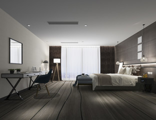 3d rendering modern luxury bedroom suite in hotel