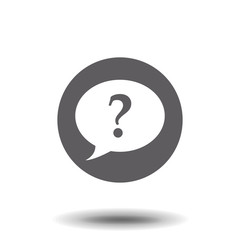 Question mark in a speech bubble icon on white background. Vector