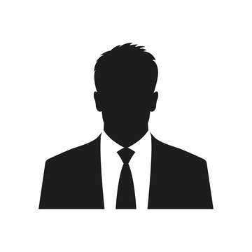 Business man icon. Male face silhouette with office suit and tie. User avatar profile. Vector illustration.